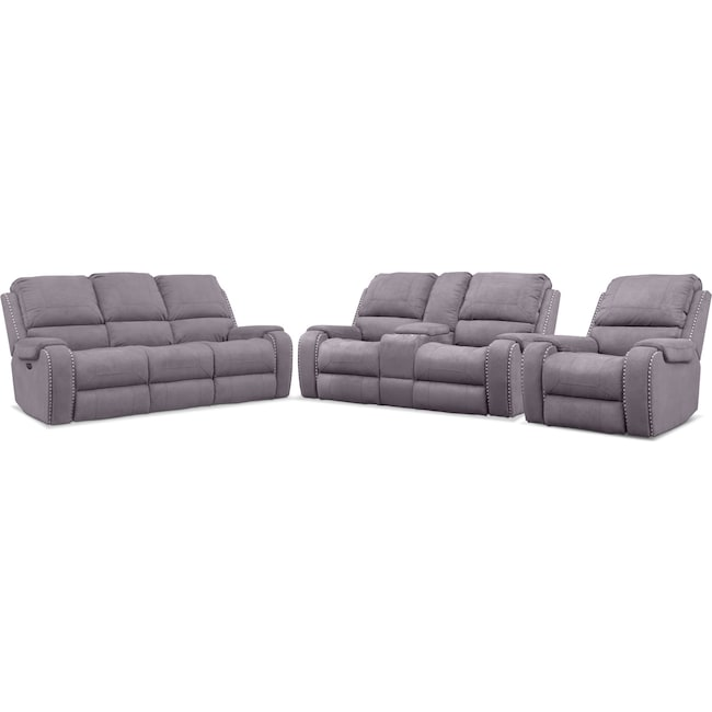 Living Room Furniture Austin Dual Reclining Sofa Loveseat And Recliner Set