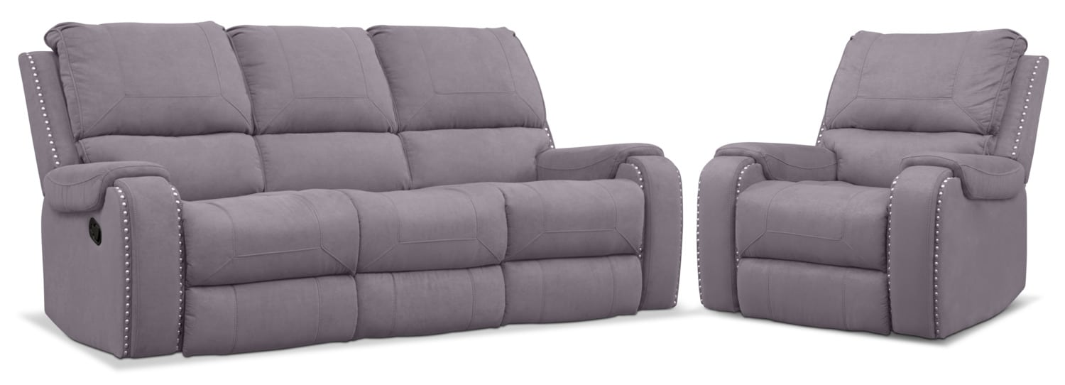 Living Room Furniture - Austin Manual Reclining Sofa and Recliner Set