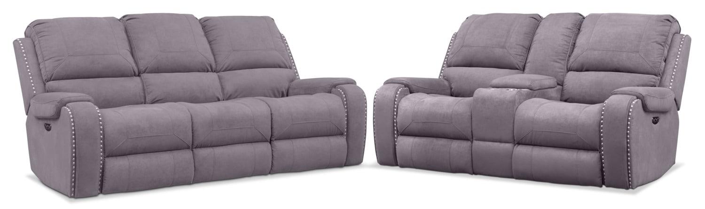 Living Room Furniture - Austin Dual-Power Reclining Sofa and Loveseat Set
