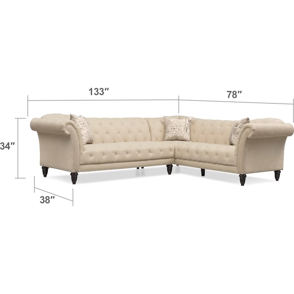 Living Room Furniture - Marisol 2-Piece Sectional - Beige