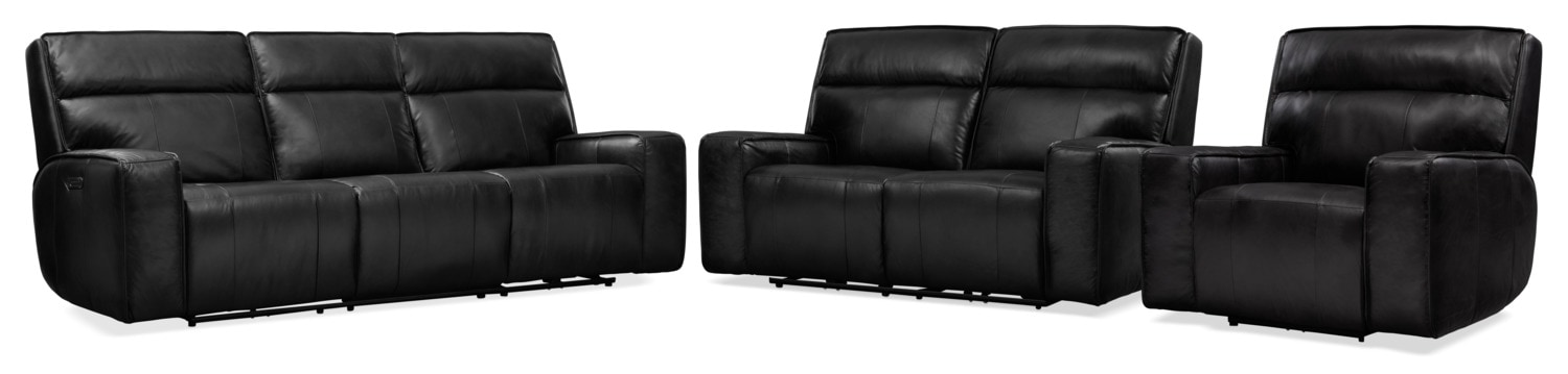 Living Room Furniture - Bradley Triple Power Reclining Sofa, Reclining Loveseat and Recliner Set