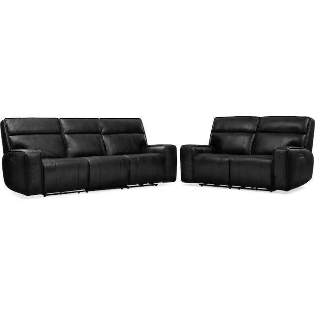 Living Room Furniture - Bradley Triple Power Reclining Sofa and Reclining Loveseat Set