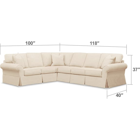 Living Room Furniture - Sawyer 2-Piece Slipcover Sectional with Sofa