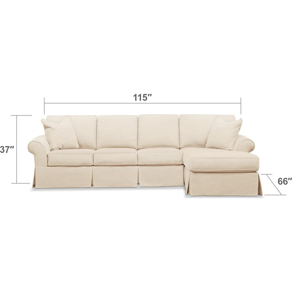 Living Room Furniture - Sawyer 2-Piece Slipcover Sectional with Sofa and Chaise