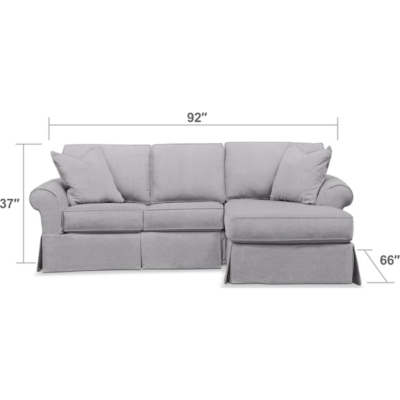 Living Room Furniture - Sawyer 2-Piece Small Slipcover Sectional with Chaise