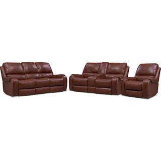 Austin Dual-Power Reclining Sofa, Loveseat and Recliner