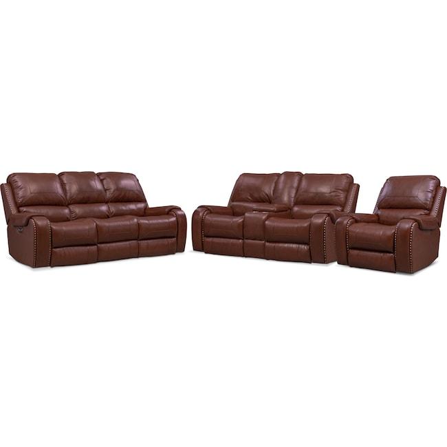 Living Room Furniture - Austin Dual Power Reclining Sofa, Reclining Loveseat and Recliner Set