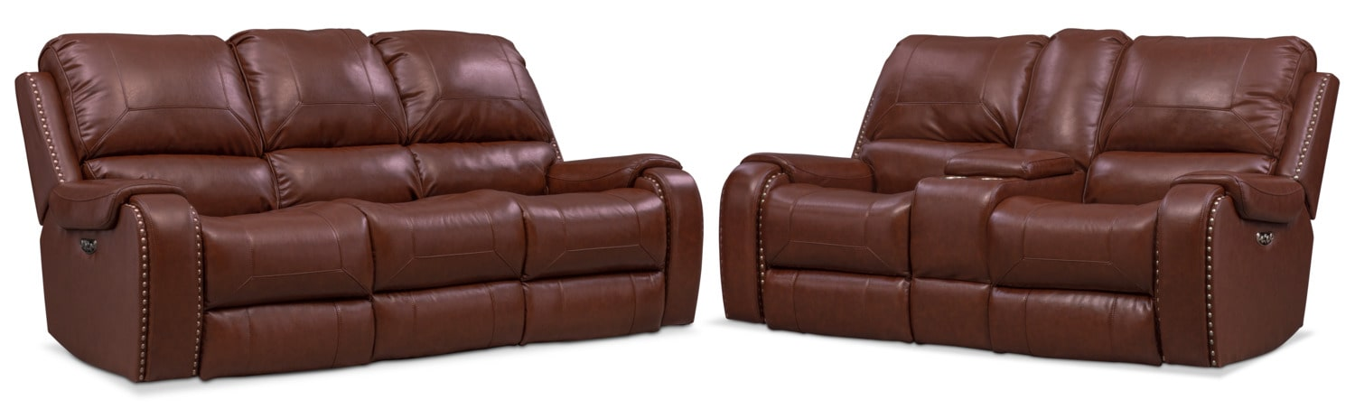 Living Room Furniture - Austin Dual-Power Reclining Sofa and Loveseat Set