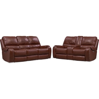 Austin Dual-Power Reclining Sofa and Loveseat Set