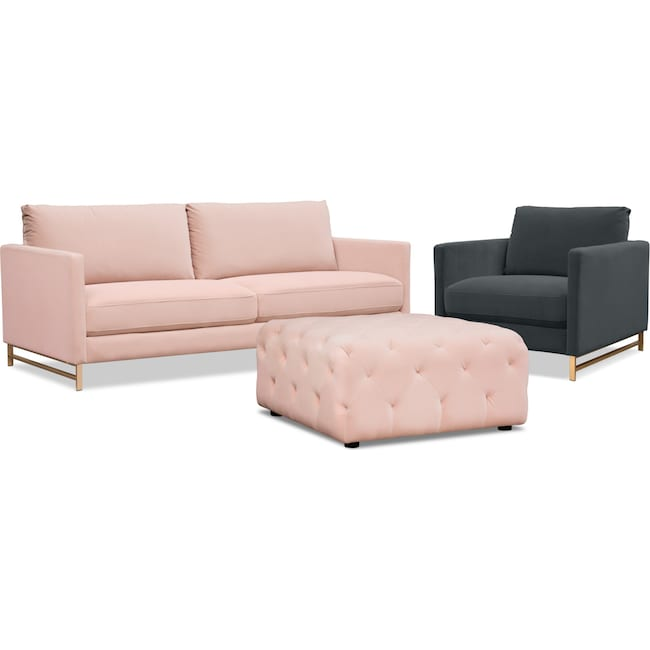 Living Room Furniture Alex Sofa Chair And Ottoman Set Blush Green