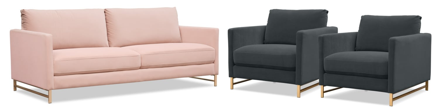 Alex Sofa And 2 Chairs Set   Green And Blush ...