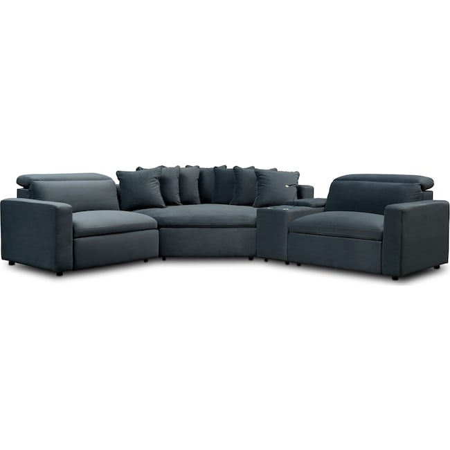 Happy 4 Piece Dual Power Reclining Sectional With Cuddler Value