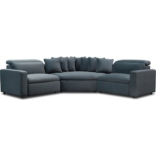 Happy 3-Piece Dual-Power Reclining Sectional with 2 Reclining Seats and Cuddler