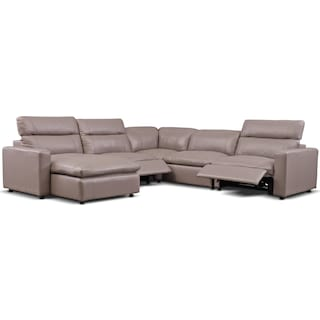 Happy 5-Piece Dual-Power Reclining Sectional with Chaise and 3 Reclining Seats