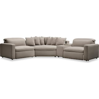 Happy 4-Piece Dual Power Reclining Sectional with Cuddler