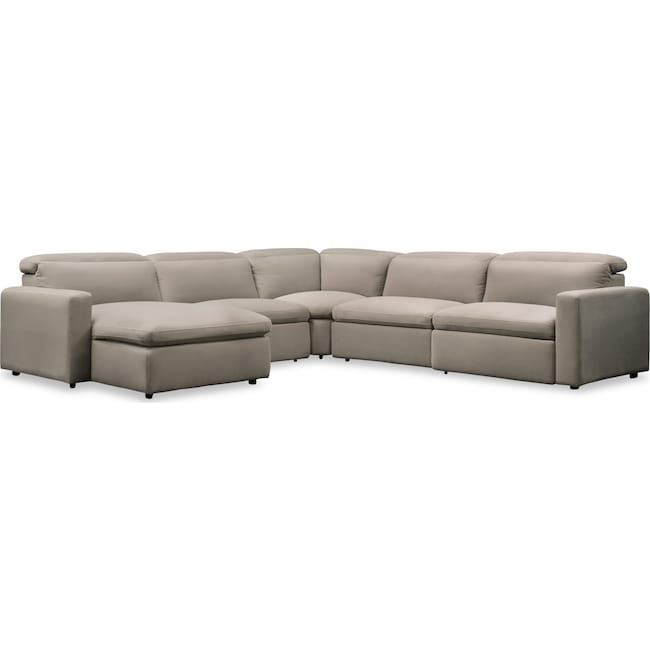 Living Room Furniture - Happy 5-Piece Dual-Power Reclining Sectional with Left-Facing Chaise and 3 Reclining Seats - Shitake