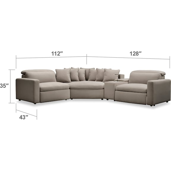 Living Room Furniture - Happy 4-Piece Dual-Power Reclining Sectional with 2 Reclining Seats and Cuddler - Shitake