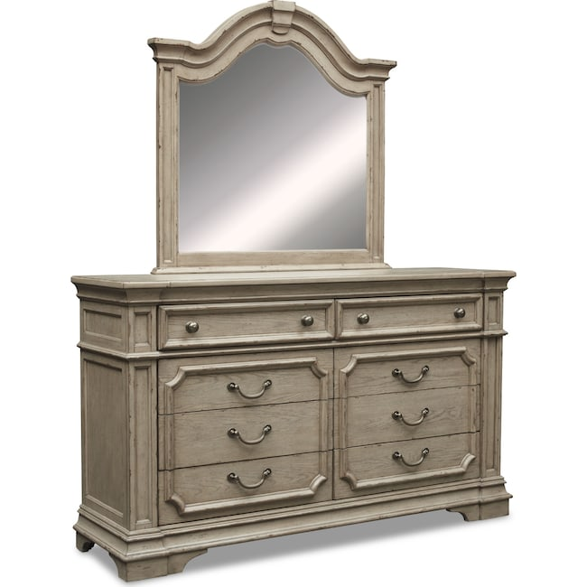 Chatelet Dresser And Mirror Antique Taupe Value City Furniture