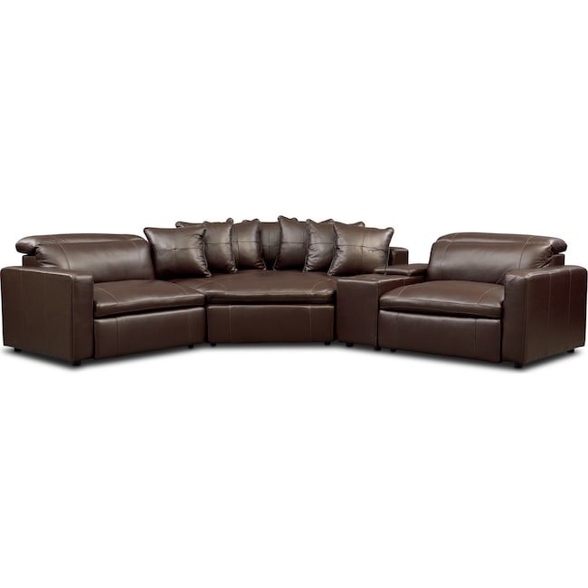 Living Room Furniture - Happy 4-Piece Dual-Power Reclining Sectional with 2 Reclining Seats and Cuddler