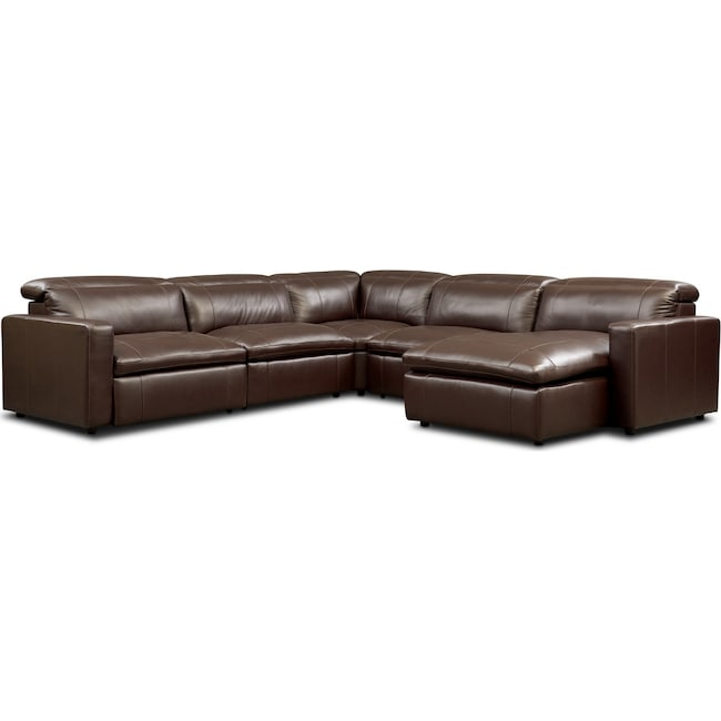 Living Room Furniture - Happy 5-Piece Dual-Power Reclining Sectional with Chaise and 3 Reclining Seats