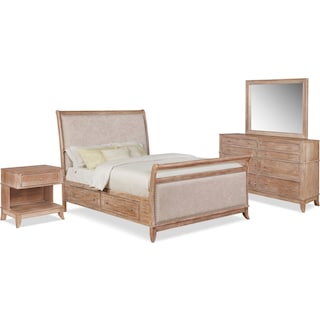 Hazel 6-Piece Upholstered Bedroom Set with 1-Drawer Nightstand, Dresser and Mirror