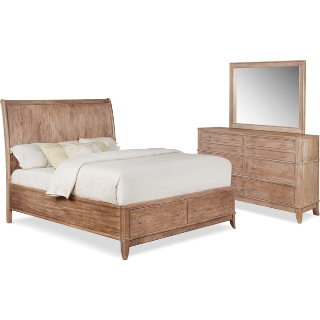 Bedroom Furniture - Hazel 5-Piece Bedroom Set with Dresser and Mirror