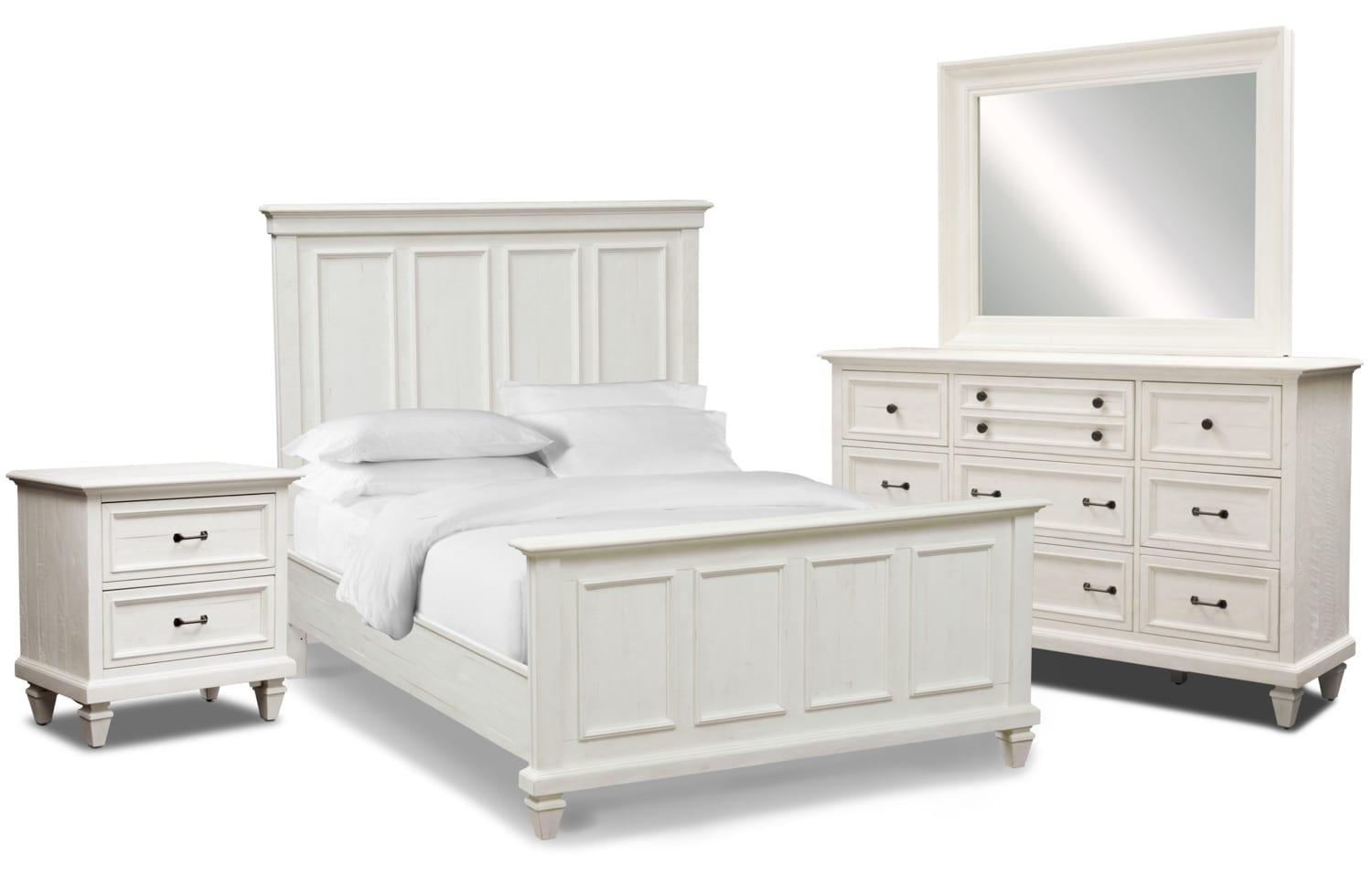 Bedroom Furniture - Harrison 6-Piece Bedroom Set with Nightstand, Dresser and Mirror