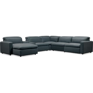 Happy 6-Piece Dual-Power Reclining Sectional with Chaise and 2 Reclining Seats