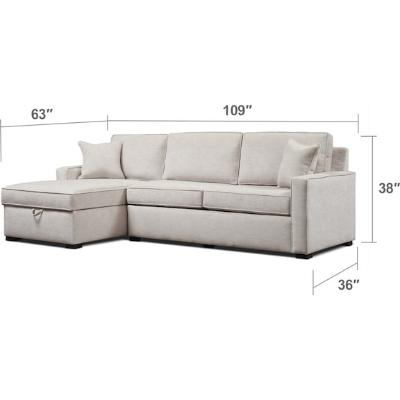 Living Room Furniture - Mayson 2-Piece Sectional with Chaise