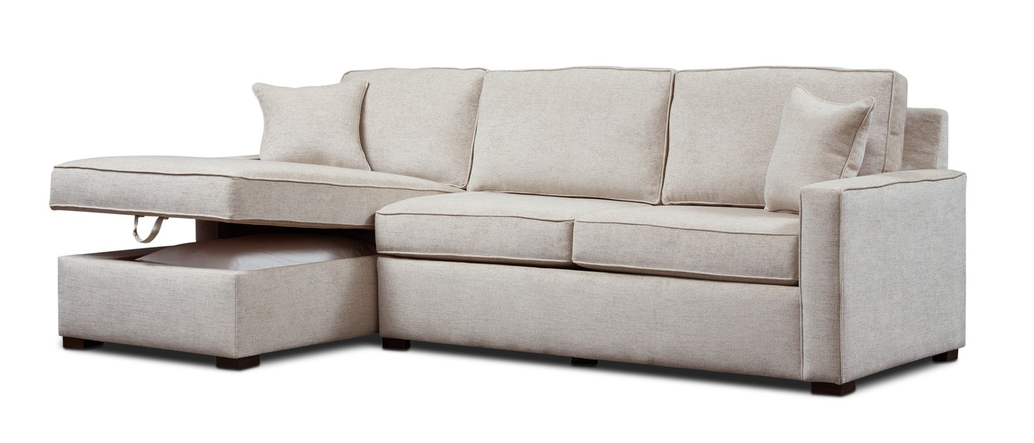 Living Room Furniture - Mayson 2-Piece Left-Facing Full Memory Foam Sleeper Sectional - Beige