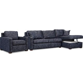 Mayson 2-Piece Right-Facing Full Memory Foam Sleeper Sectional and Chair - Navy