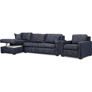 Mayson 2-Piece Left-Facing Full Memory Foam Sleeper Sectional and Chair - Navy