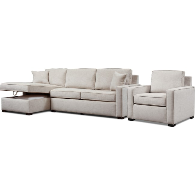 Living Room Furniture - Mayson 2-Piece Sectional and Chair Set