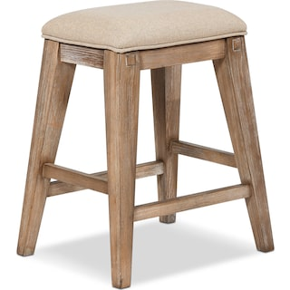 August Counter-Height Backless Upholstered Stool - Latte