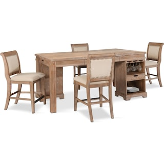 August Counter-Height Island and 4 Upholstered Stools Set - Latte