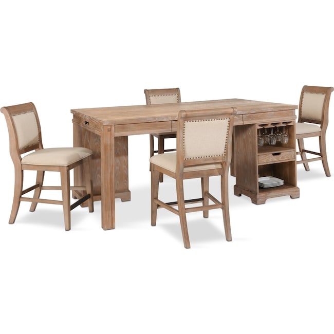 Dining Room Furniture - August Counter-Height Island and 4 Upholstered Stools