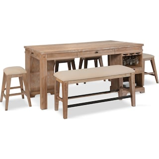 August Counter-Height Island, 4 Backless Stools, and Bench Set - Latte