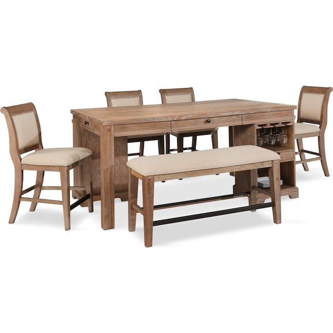 Dining Room Furniture - August Counter-Height Island, 4 Upholstered Stools, and Bench Set - Latte