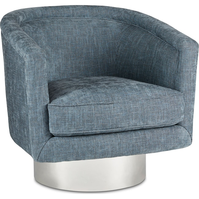 Accent and Occasional Furniture - Fremont Swivel Lounge - Blue