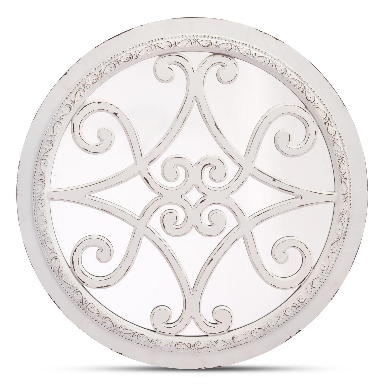 Home Accessories - Antique Plaque Mirror - White