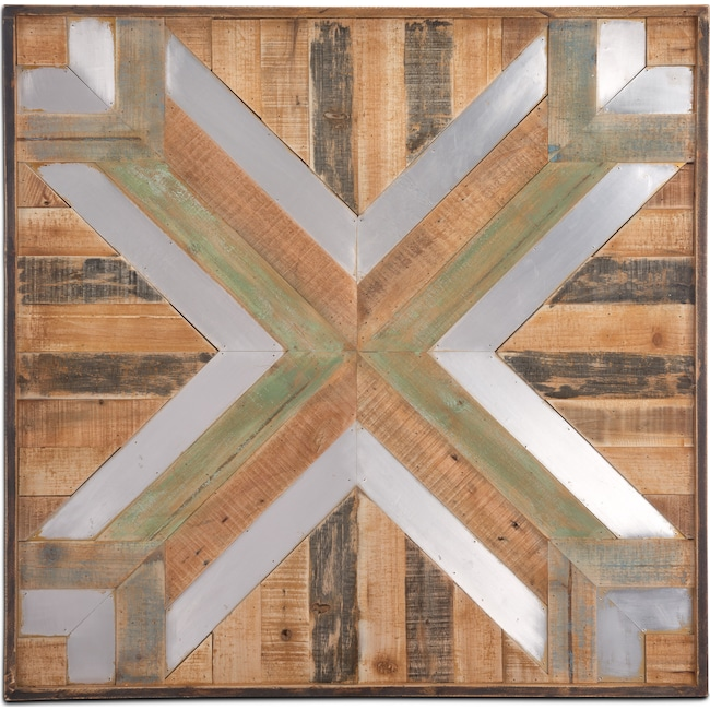 Home Accessories Wood And Metal Wall Decor Brown