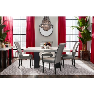Artemis Dining Table and 4 Upholstered Side Chairs - Gray