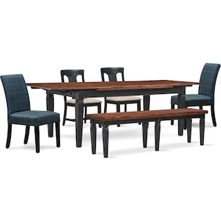 Adler Dining Table, 2 Side Chairs, 2 Upholstered Side Chairs and Bench