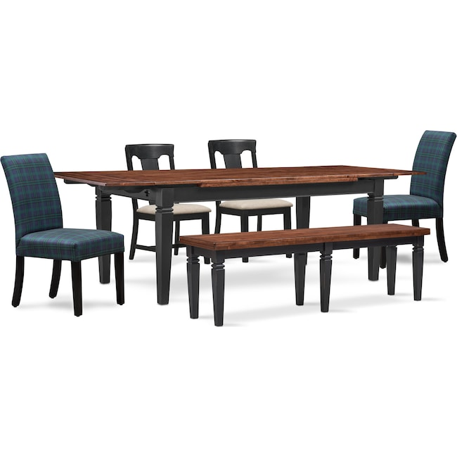 Dining Room Furniture - Adler Dining Table, 2 Side Chairs, 2 Upholstered Side Chairs and Bench