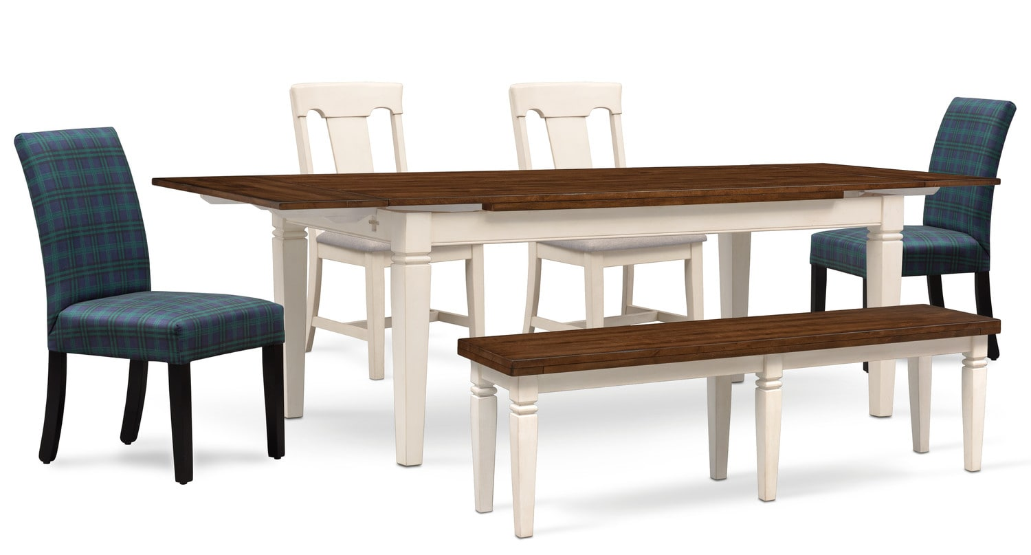 Adler Dining Table 2 Side Chairs Upholstered And