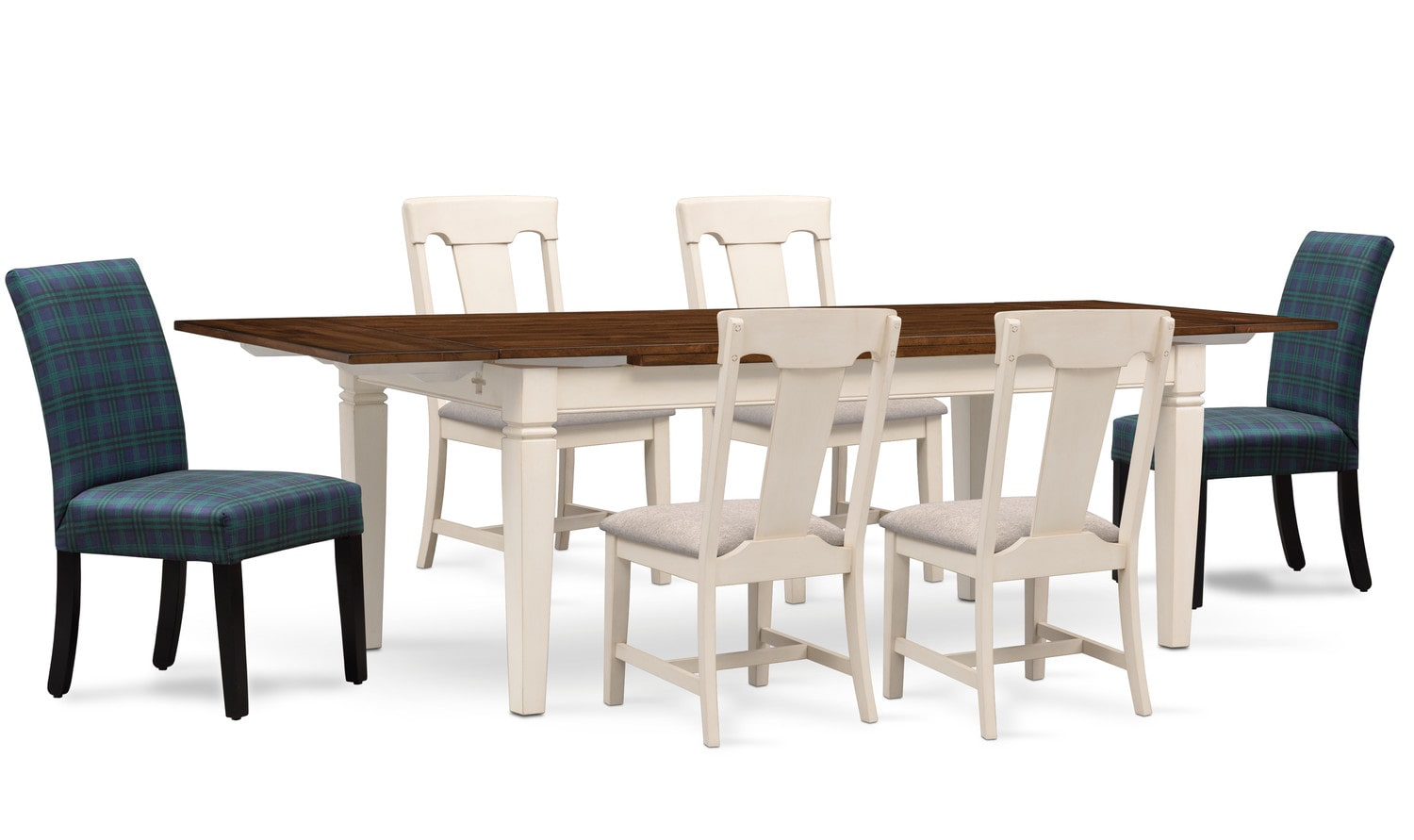 Dining Room Furniture - Adler Dining Table, 4 Side Chairs, and 2 Upholstered Side Chairs