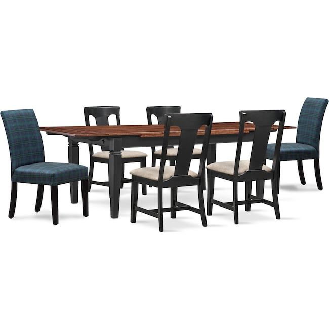 The Adler Extendable Table From Iq Furniture: Adler Dining Table, 4 Side Chairs, And 2 Upholstered Side