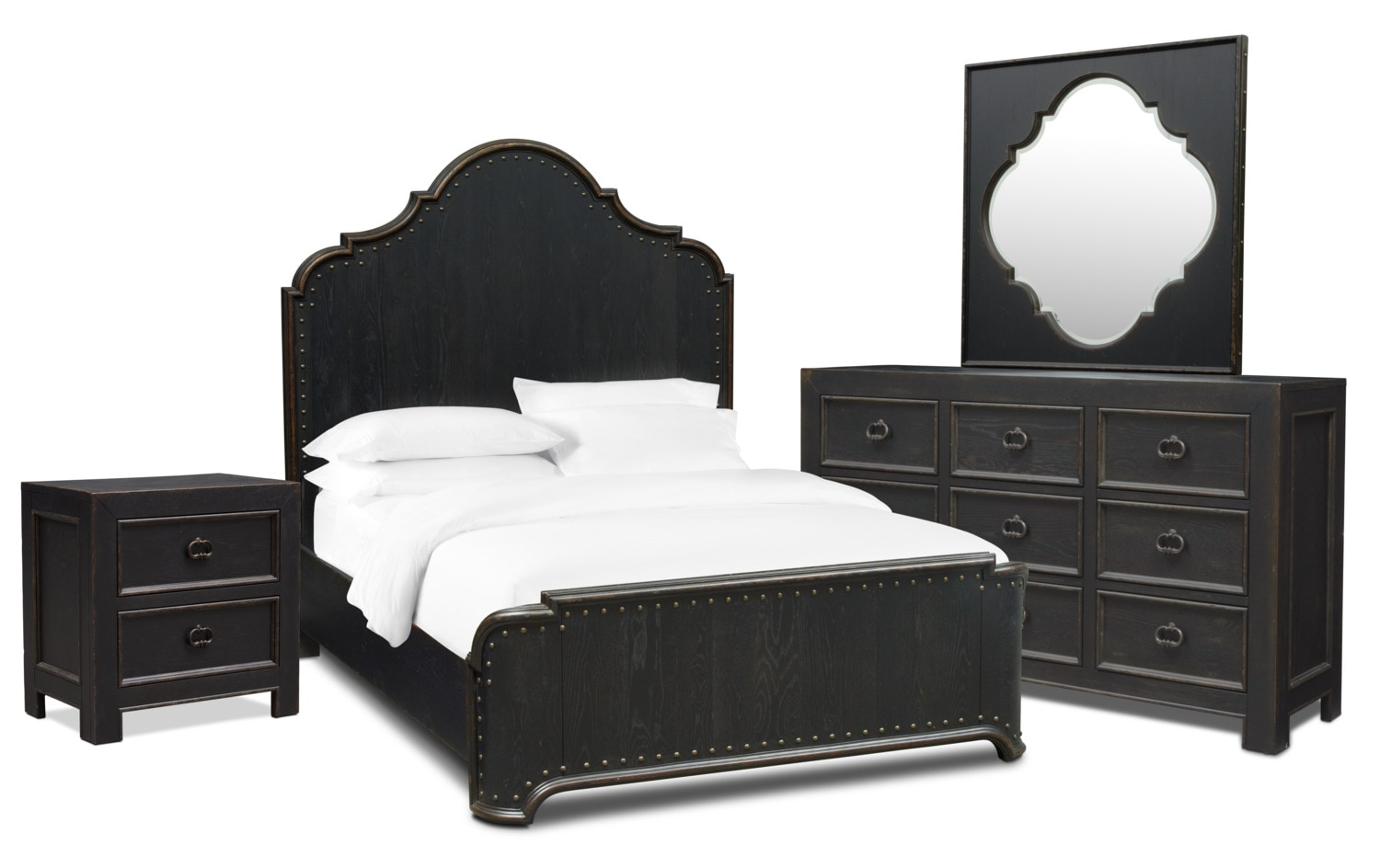 Bedroom Furniture - Lennon 6-Piece Bedroom Set with Nightstand, Dresser and Mirror