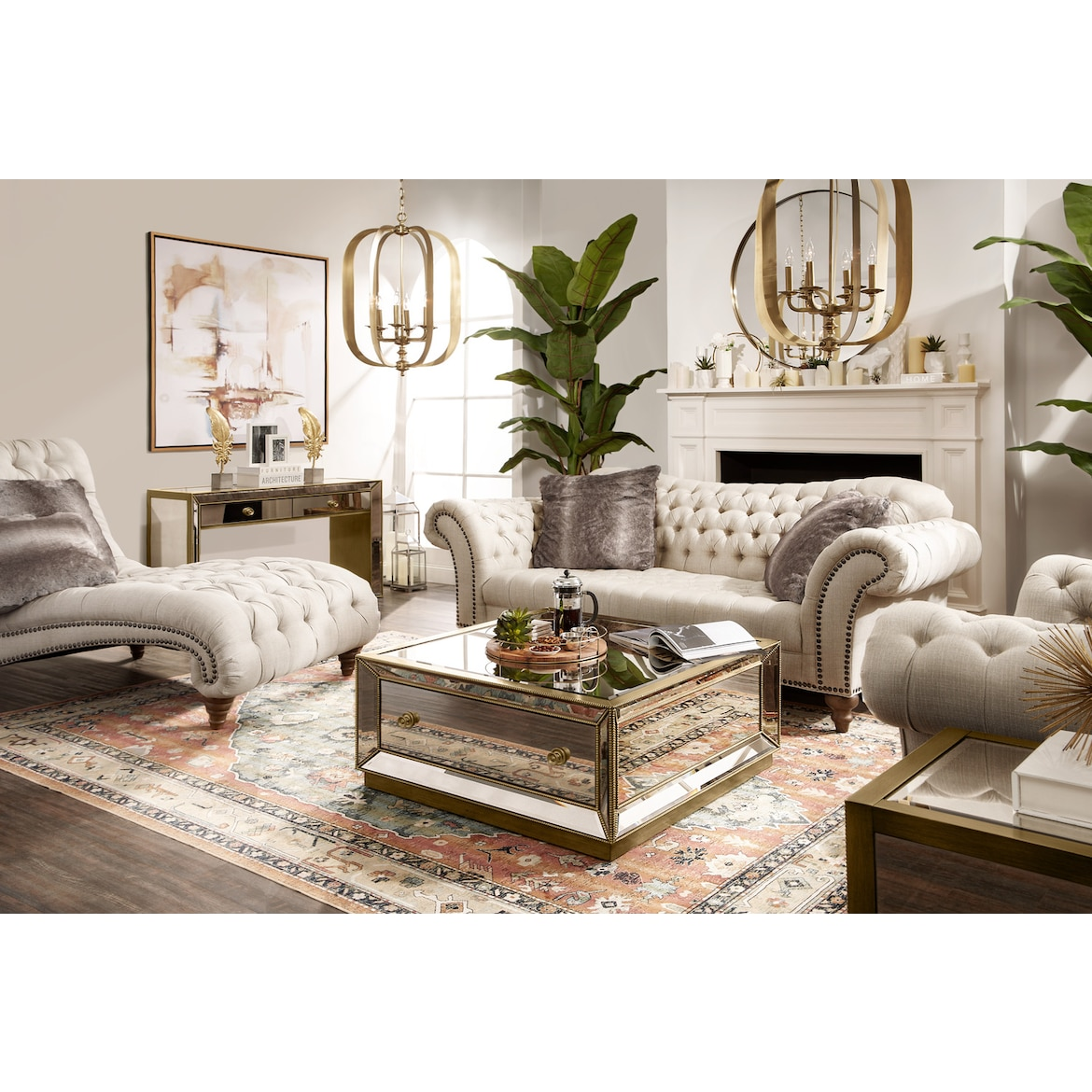 Reflection Coffee Table - Antiqued Mirror | Value City Furniture and ...