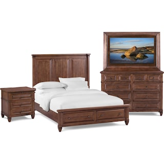 Rosalie 6-Piece King Storage Bedroom Set with TV Mount - Chestnut
